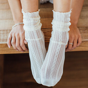 Womens Cute Hollow Out Tube Socks Summer Cotton Breathable Crew Socks