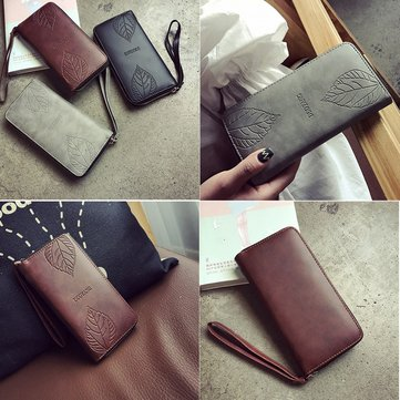 Women PU Leather Leaf Pattern Purse Wallet Card Holder Phone Zipper Bag for iPhone Samsung Xiaomi