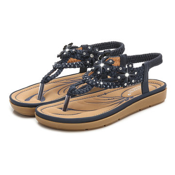 Women Bohemian Rhinestone Comfortable Casual Flat Sandals