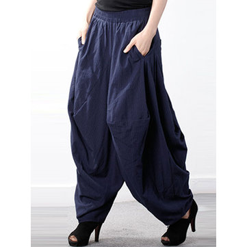 Plus Size Casual Women Cotton Harem Pants