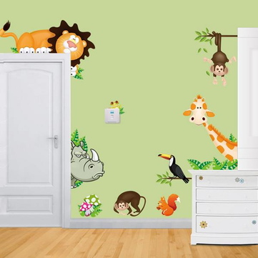 Cartoon Animal Wall Sticker Living Room Home Decoration Creative Decal DIY Mural Wall Art