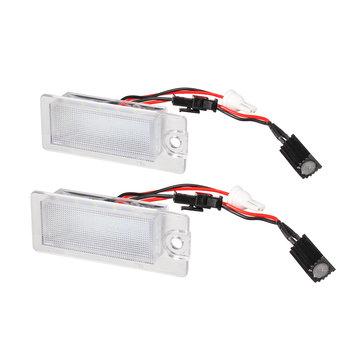 2Pcs 13.5V 2W 18-SMD LED Car Number License Plate Lights White Lamp for Volvo S80 V70 S60 XC70 XC90