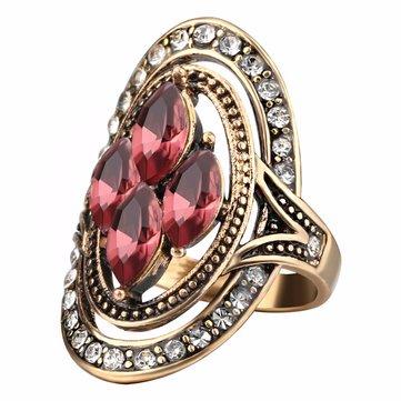 Bohemio de piedras preciosas de cristal rojo anillos de dedo étnico hueco oval joyería geométrica del anillo para Mujer