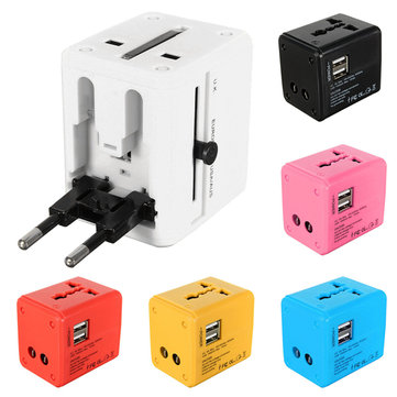 US/AU/UK/EU Universal World Plug Travel Adapter Converter With Dual USB Charger