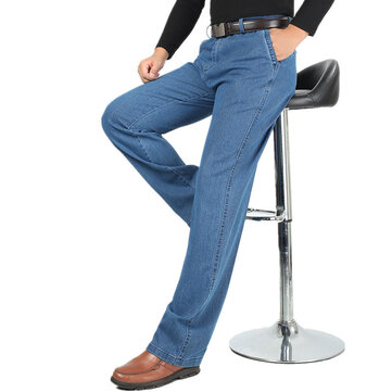 Summer Thin Business Casual Straight Leg Elastic Jeans