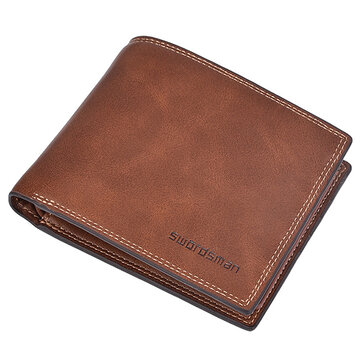 Male Short Wallet Credit Card Holder Soft Bifold Minimalist Wallet with 10 Card Slots