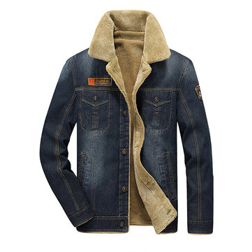 Mens Thick Denim Turn-down Collar Multi Pocket Winter Fashion Casual Solid Color Coat