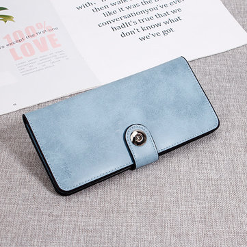 Women Pure Color Long Wallet Phone Bag Simple Purse Card Holder