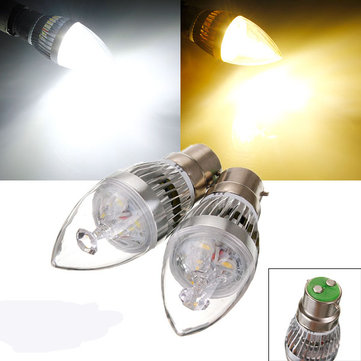 Dimmable B22 9W 3 LED White/Warm White LED Candle Light Bulb 220V