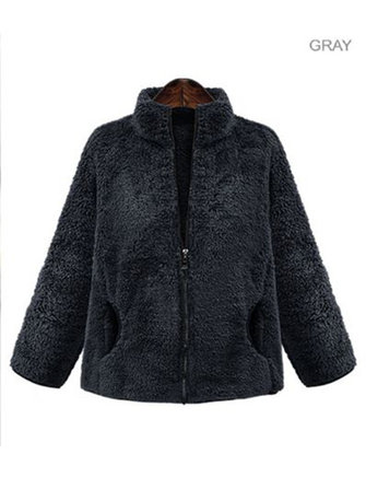 Fleece Zipper Pockets Stand Collar Winter Coats
