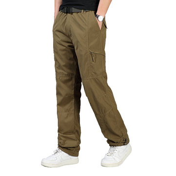 Mens Outdoor Warm Fleece Sport Pants Casual Elastic Waist Soild Color Cargo Pants