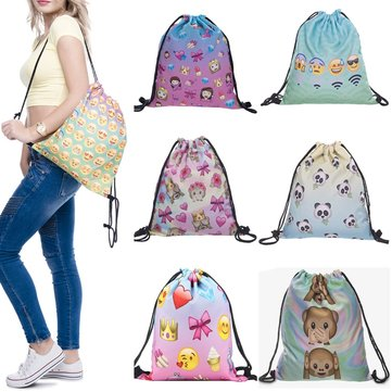 IPRee® Emoji Drawstring School Bag Girl Teenage Pouch Women Travel Backpack