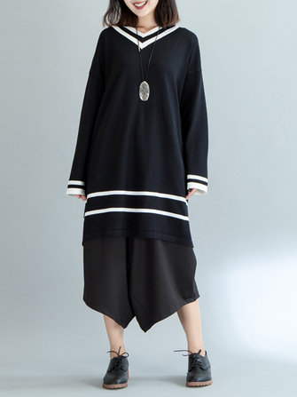 Plus Size Casual Women Striped Long Sweater Dresses