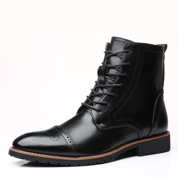 Men Brogue Classic Cowboy Lace Up Mid-calf Boots