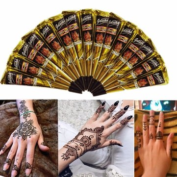 3pcs Black Natural Herbal Henna Cone Temporary Tattoo Body Art Tattoos Hair Loss