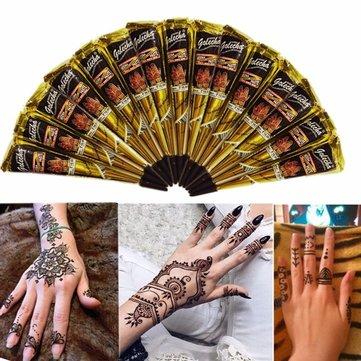 3pcs Black Natural Herbal Henna Cone Temporary Tattoo Body Art Tattoos Hair Loss