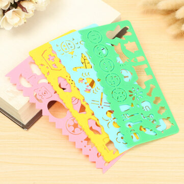 4pcs Plastic Art Graphics Drawing Stencil Template Ruler For Students Children
