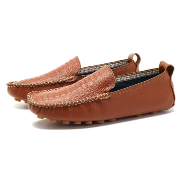 Men Soft Genuine Leather Moc Toe Stitching Hand Made Flat Loafers Driving Shoes