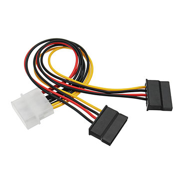 4 Pin Molex IDE Male to 2 port IDE Female SATA Power Cable