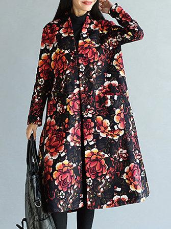 빈티지 여성 꽃 인쇄 긴 소매 벨벳 따뜻한 코트