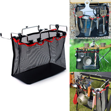 330 x 160 x 260mm Outdoor Camping Iron Picnic Storage Baskets Barbecue Kitchen Debris Storage Rack