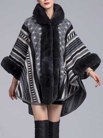 Women Elegant Stripe Printed Hooded Fur Collar Cloak Cape Coats