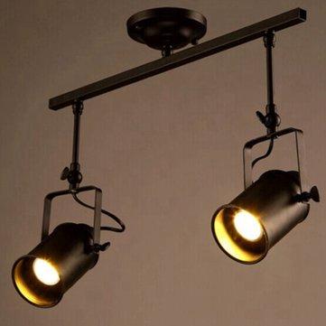 Loft Vintage LED Track Light Dual Heads Spotlight Industrial Ceiling Sconce for Bar Clothing Store
