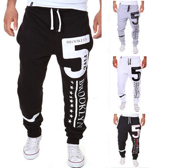 Men's Casual Lace-Up Loose Gym Sports Pants Letters Printing Beam Feet Trousers