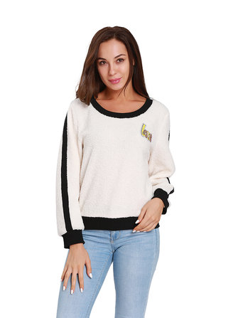 Women Fleece Love Letter Patchwork Sweatshirt