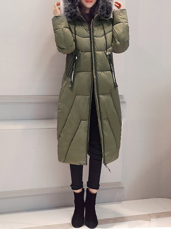 Casual Women Pure Color Pocket Faux Fur Long Sleeve Hooded Parkas