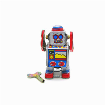 Classic Vintage Clockwork Wind Up Robot Photography Reminiscence Children Kids Tin Toys With Key