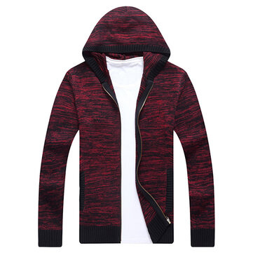 Men's Casual Knitted Hooded Cardigans Fashion Solid Color Comfortable Sweaters