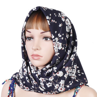 Women Muslim Yarn Printting Headscarf Scarf Turban Caps