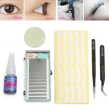 6pcs Eyelash Extension Kit Glue Tweezers Stand False Eye Lash Patch