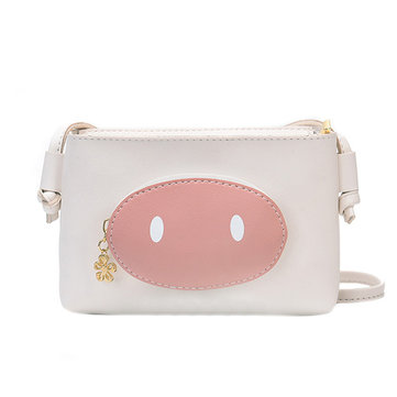 Women Faux Leather Cute Pig Crossbody Bag Contrast Shoulder Bag