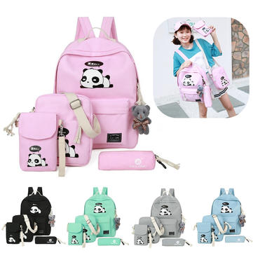 5Pcs Ultralight Canvas Panda Print Travel Backpack Rucksack School Bags for Women