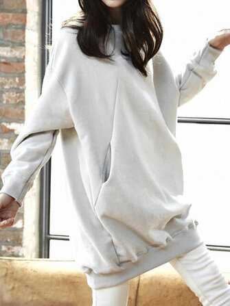 Women Autumn Loose Pullover Solid Color Long Sweatshirt Dress