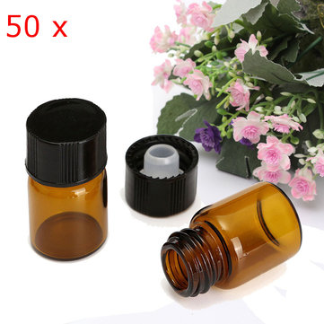50Pcs 2ml Amber Dram Glass Essential Oil Bottle Orifice Reducer with Cap