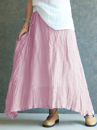 Women Vintage Summer Pleated Cotton Casual Long Maxi Skirts