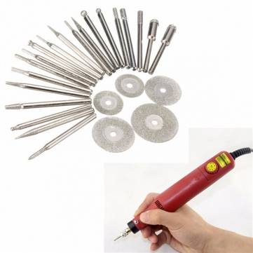 25pcs Diamond Coated Rotary Burrs and Cutting Wheel Blade Disc Set for Dremel Rotary Tool