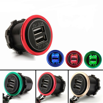 5V 4.2A Aluminum Motorcycle Dual USB Charger Socket Voltmeter For Car Boat Motorcycle
