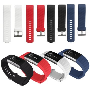 Replacement Silicone Diamond Pattern Watchband Watch Strap For Fitbit Charge 2