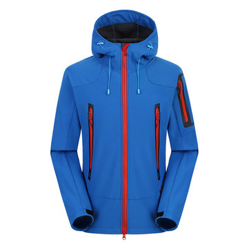 Mens Waterproof Windproof Outdoor Hiking Sport Thick Warm Hooded Soft Shell Jacket