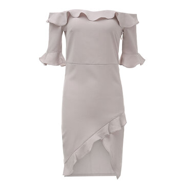 Sexy Women Off Shoulder Ruffle Split Party Bodycon Dress