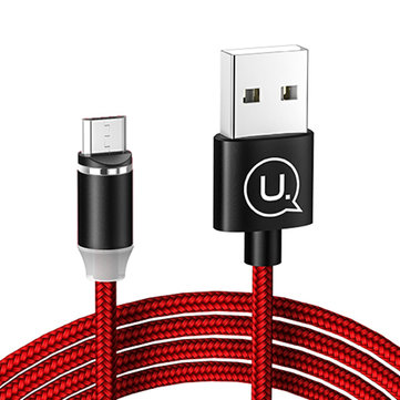 USAMS-SJ159 2.1A Micro magnético Nylon cable trenzado 1.2m para Samsung S7 Xiaomi Redmi Note 4