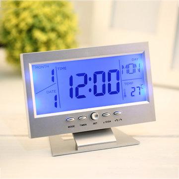 2017 เครื่องควบคุมเสียงในที่ทำงานแบบ Back-light LCD นาฬิกาปลุกพร้อมนาฬิกาสภาพอากาศ หน้าจอ ปฏิทินพร้อ