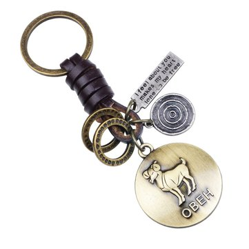 Retro Twelve constellation Woven Keychain Soft Leather Cord Keychain For Men