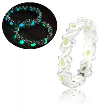 1Pc Silver Hollow Glow in Dark Luminous Finger Ring For Women