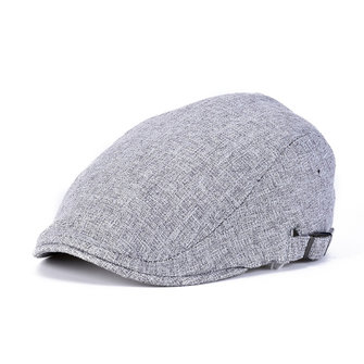 Men Linen Beret Hat Buckle Adjustable Paper Boy Newsboy Cabbie Golf Gentleman Cap
