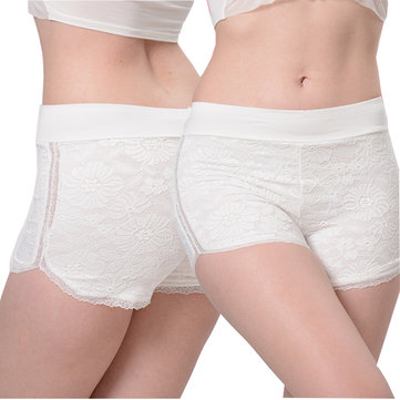 Women Lace Embroidery Anti Exposure Seamfree Breathable Modal Mid Waist Boyshorts